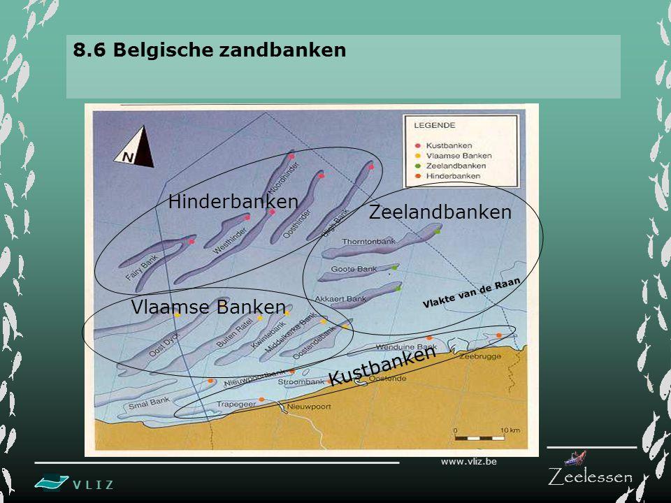 V L I Z www.vliz.be Zeelessen 8.6 Belgische zandbanken Hinderbanken Zeelandbanken Vlaamse Banken Kustbanken Vlakte van de Raan