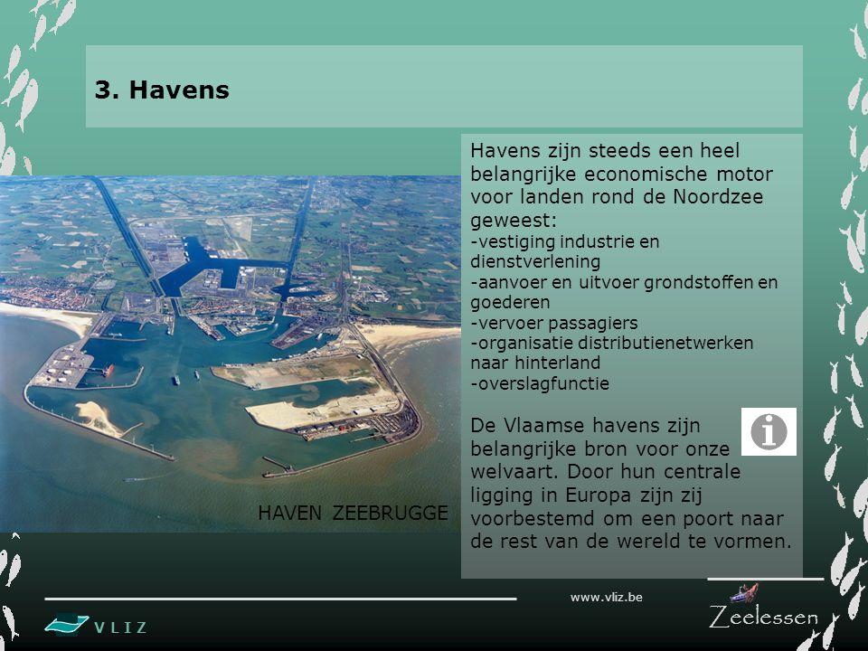 V L I Z www.vliz.be Zeelessen Havens zijn steeds een heel belangrijke economische motor voor landen rond de Noordzee geweest: -vestiging industrie en