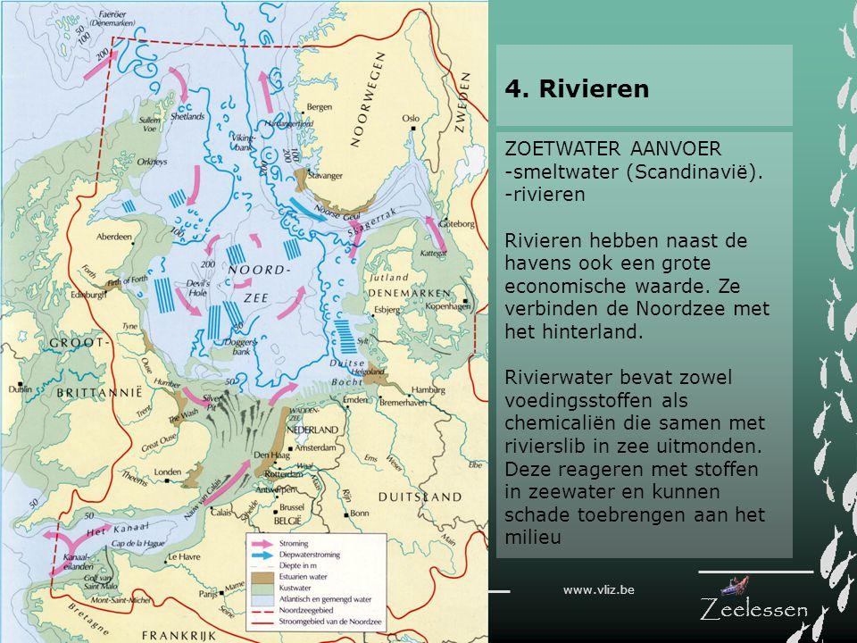 V L I Z www.vliz.be Zeelessen ZOETWATER AANVOER -smeltwater (Scandinavië). -rivieren Rivieren hebben naast de havens ook een grote economische waarde.