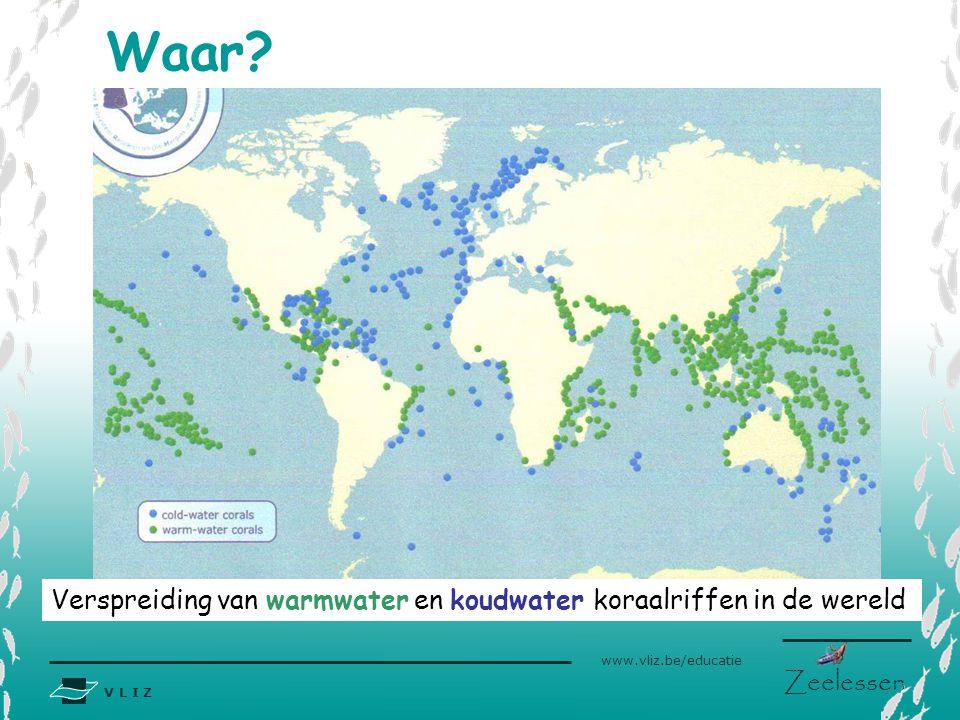 V L I Z www.vliz.be/educatie Zeelessen Waar? Verspreiding van warmwater en koudwater koraalriffen in de wereld