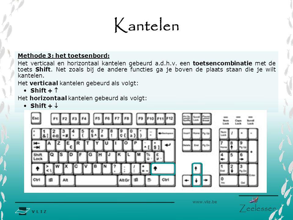 V L I Z www.vliz.be Zeelessen Kantelen Methode 3: het toetsenbord: Het verticaal en horizontaal kantelen gebeurd a.d.h.v. een toetsencombinatie met de