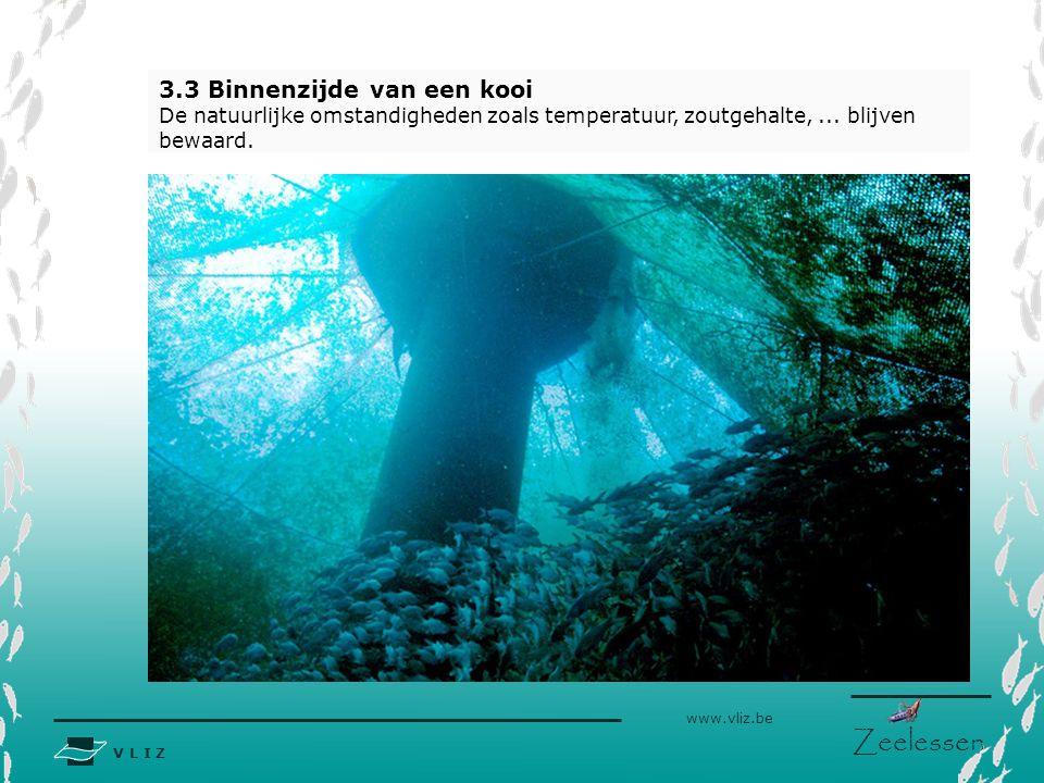 V L I Z www.vliz.be Zeelessen 3.3 Binnenzijde van een kooi De natuurlijke omstandigheden zoals temperatuur, zoutgehalte,...