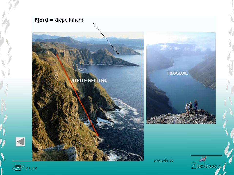 V L I Z www.vliz.be Zeelessen Fjord = diepe inham TROGDAL STEILE HELLING