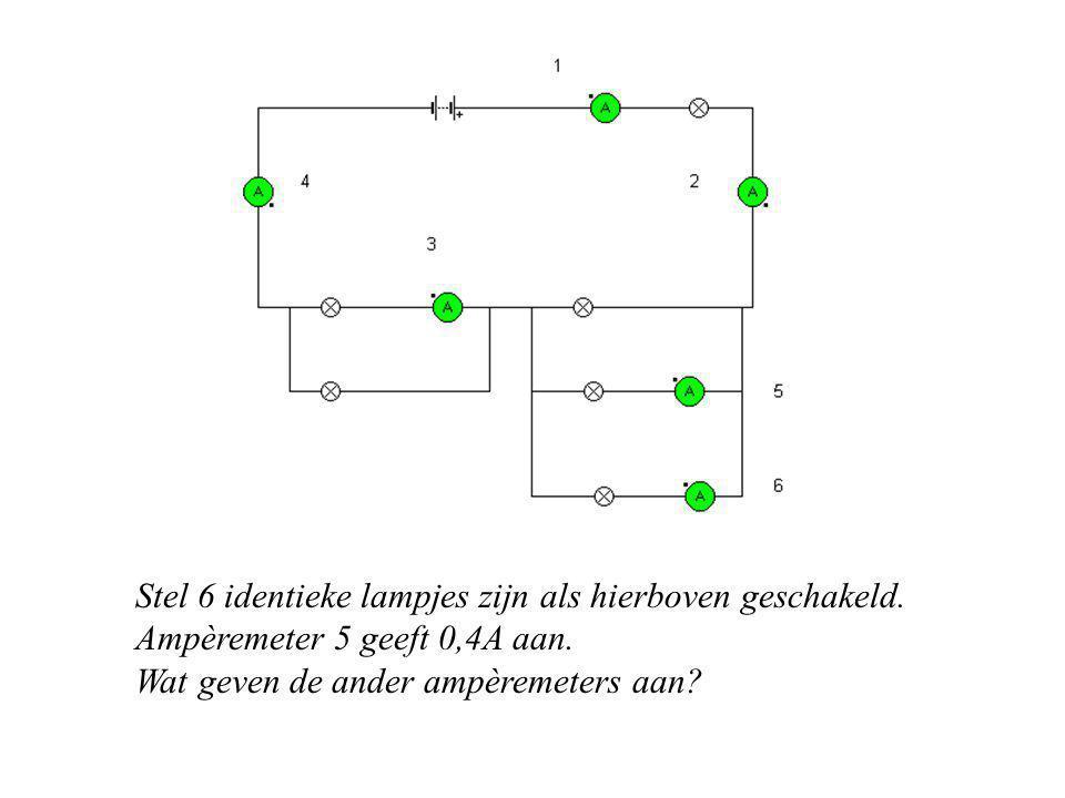 Stel 6 identieke lampjes zijn als hierboven geschakeld. Ampèremeter 5 geeft 0,4A aan. Wat geven de ander ampèremeters aan?