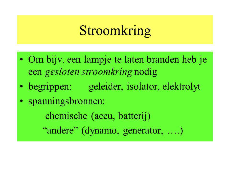 Stroomkring Om bijv. een lampje te laten branden heb je een gesloten stroomkring nodig begrippen: geleider, isolator, elektrolyt spanningsbronnen: che