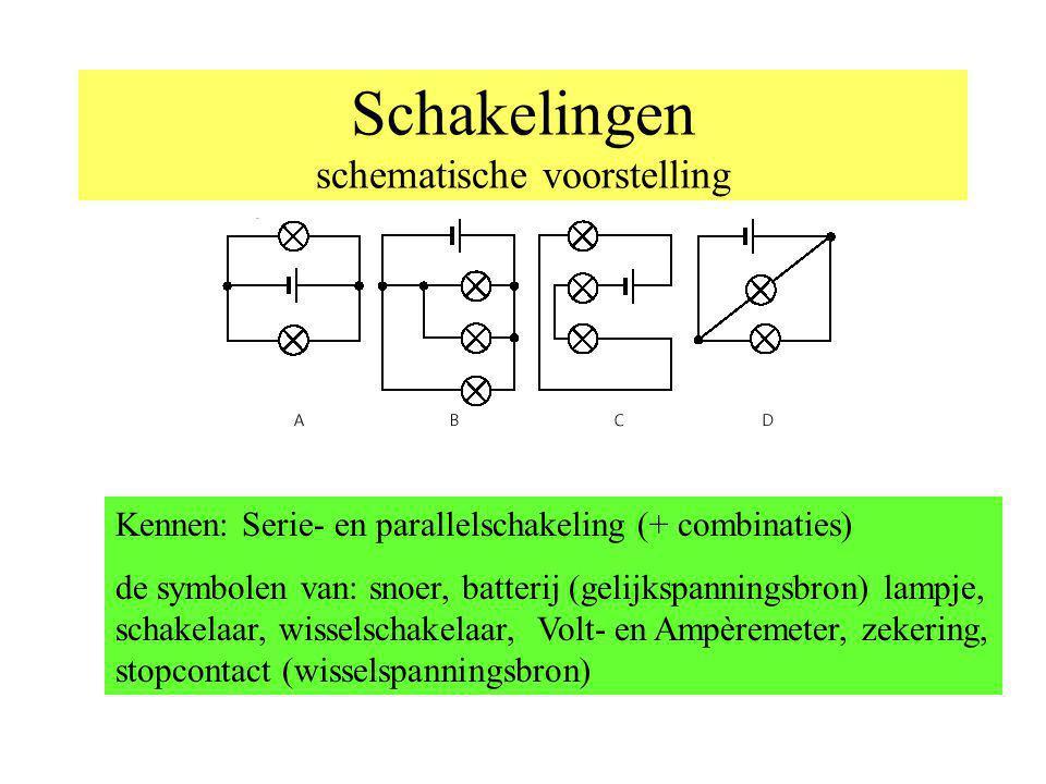 Schakelingen schematische voorstelling Kennen: Serie- en parallelschakeling (+ combinaties) de symbolen van: snoer, batterij (gelijkspanningsbron) lam
