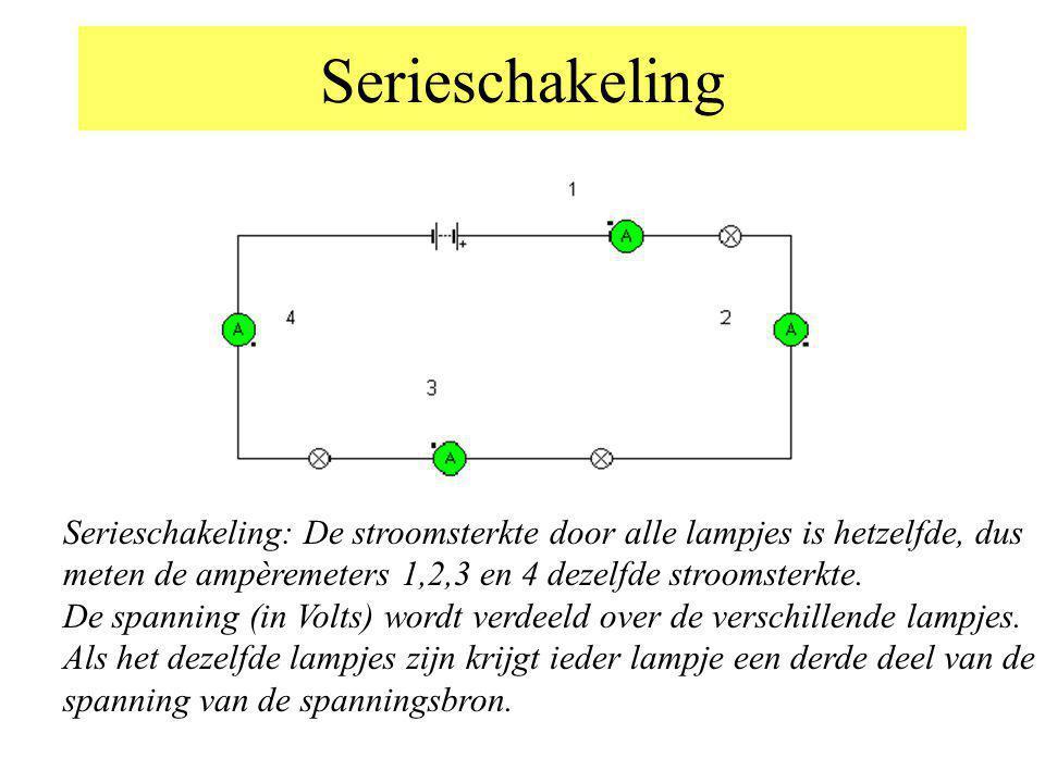 Serieschakeling Serieschakeling: De stroomsterkte door alle lampjes is hetzelfde, dus meten de ampèremeters 1,2,3 en 4 dezelfde stroomsterkte. De span