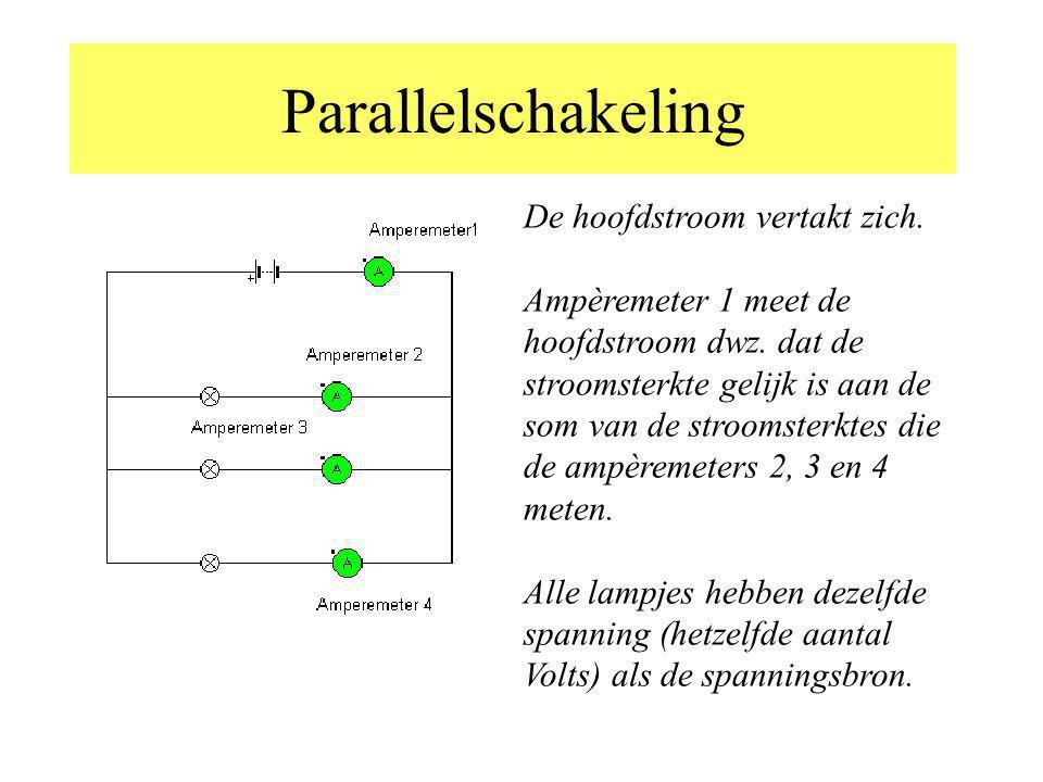 Parallelschakeling De hoofdstroom vertakt zich. Ampèremeter 1 meet de hoofdstroom dwz. dat de stroomsterkte gelijk is aan de som van de stroomsterktes