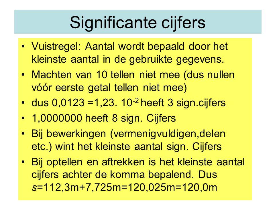 Significante cijfers Vuistregel: Aantal wordt bepaald door het kleinste aantal in de gebruikte gegevens.