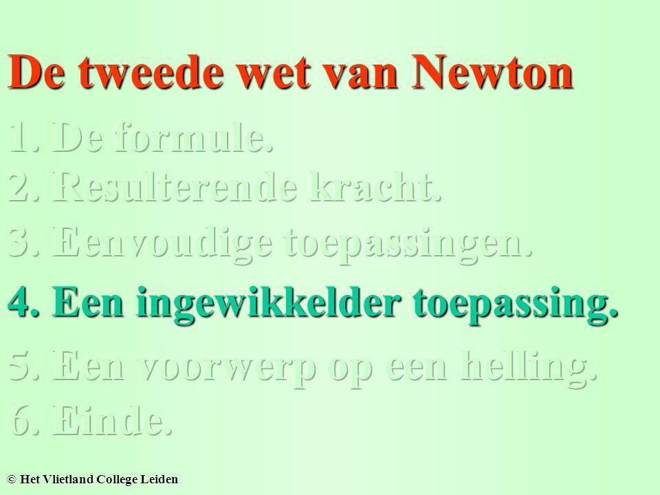 De tweede wet van Newton © Het Vlietland College Leiden 4. Een ingewikkelder toepassing.