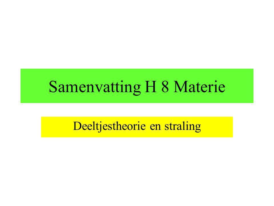 Samenvatting H 8 Materie Deeltjestheorie en straling