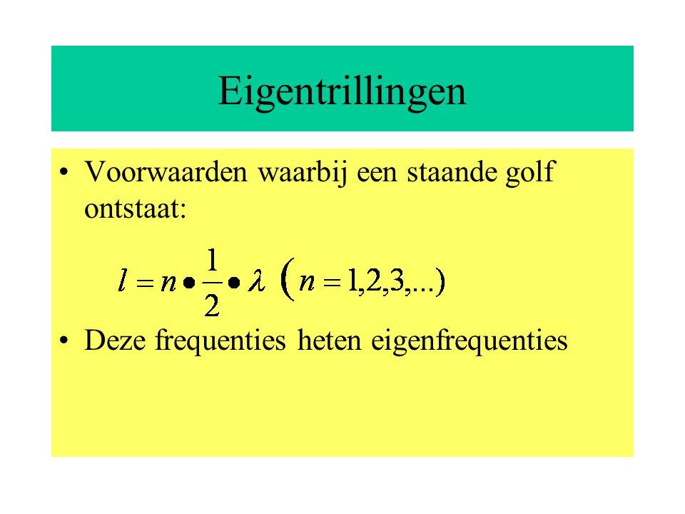 Staande golven Een staande transversale golf ontstaat bij terugkaatsing van lopende transversale golven onder speciale voorwaarden knoop: amplitude is