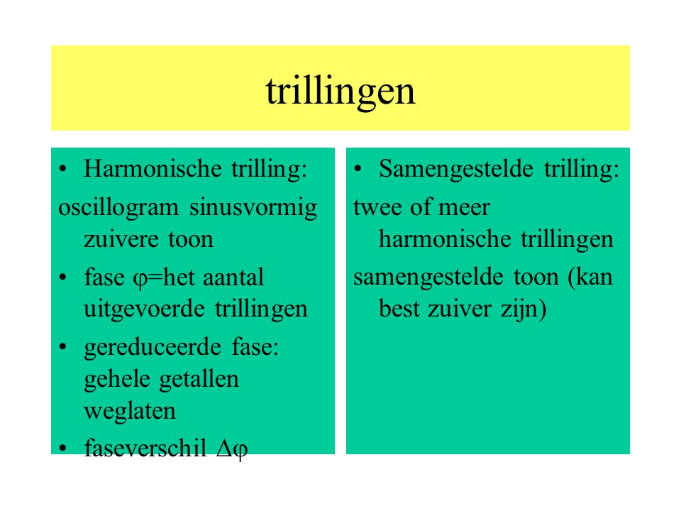 trillingen Harmonische trilling: oscillogram sinusvormig zuivere toon fase  =het aantal uitgevoerde trillingen gereduceerde fase: gehele getallen weglaten faseverschil  Samengestelde trilling: twee of meer harmonische trillingen samengestelde toon (kan best zuiver zijn)