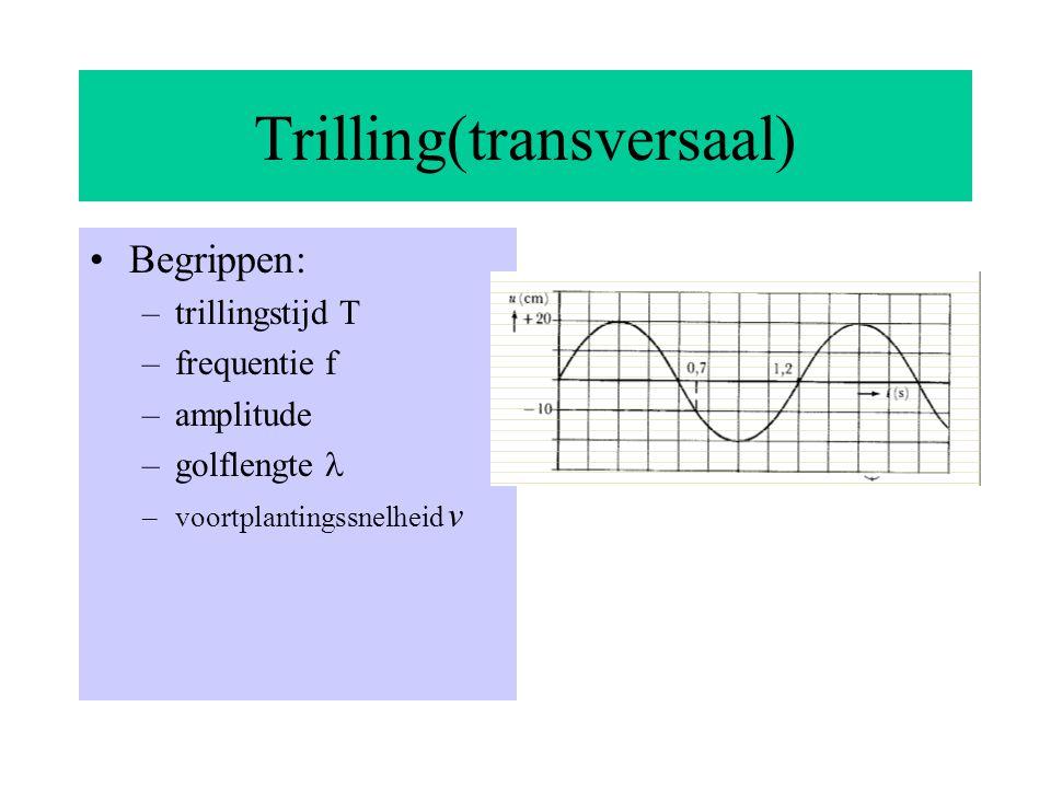 Staande longitudinale golven Voor resonantiefrequenties geldt hetzelfde verhaal als bij staande transversale golven.