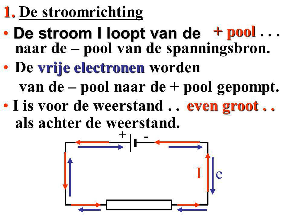 + - naar de – pool van de spanningsbron. naar de – pool van de spanningsbron. als achter de weerstand. als achter de weerstand. + pool... even groot..