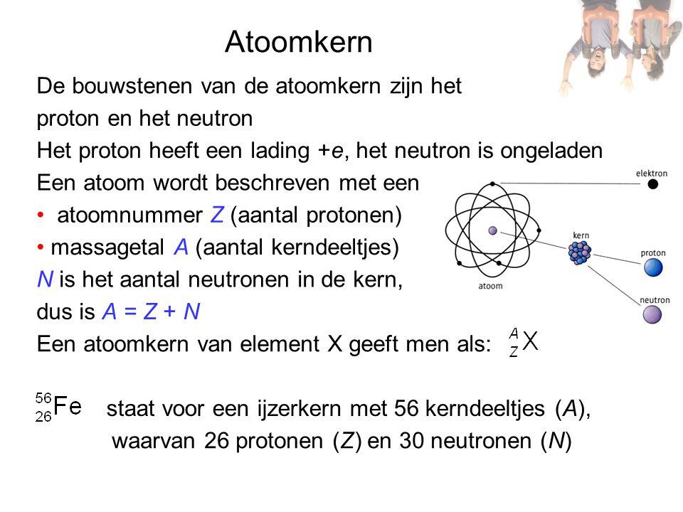 Atoomkern De bouwstenen van de atoomkern zijn het proton en het neutron Het proton heeft een lading +e, het neutron is ongeladen Een atoom wordt beschreven met een atoomnummer Z (aantal protonen) massagetal A (aantal kerndeeltjes) N is het aantal neutronen in de kern, dus is A = Z + N Een atoomkern van element X geeft men als: staat voor een ijzerkern met 56 kerndeeltjes (A), waarvan 26 protonen (Z) en 30 neutronen (N)