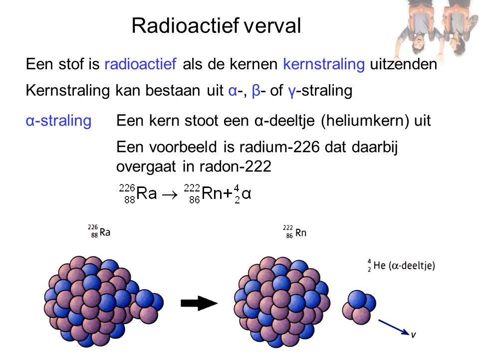 Radioactief verval Een stof is radioactief als de kernen kernstraling uitzenden Kernstraling kan bestaan uit α-, β- of γ-straling α-stralingEen kern stoot een α-deeltje (heliumkern) uit Een voorbeeld is radium-226 dat daarbij overgaat in radon-222