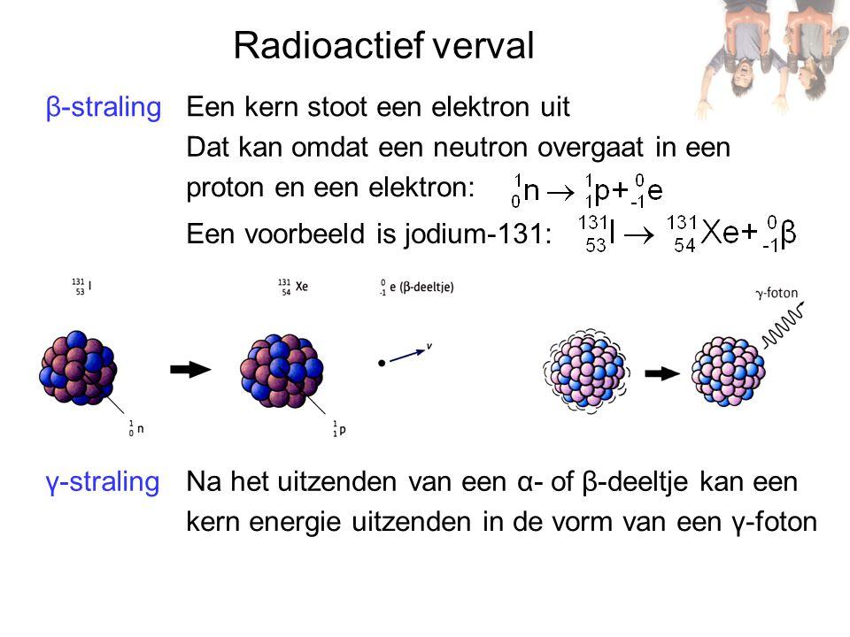 β-straling γ-straling Radioactief verval Een kern stoot een elektron uit Dat kan omdat een neutron overgaat in een proton en een elektron: Een voorbeeld is jodium-131: Na het uitzenden van een α- of β-deeltje kan een kern energie uitzenden in de vorm van een γ-foton