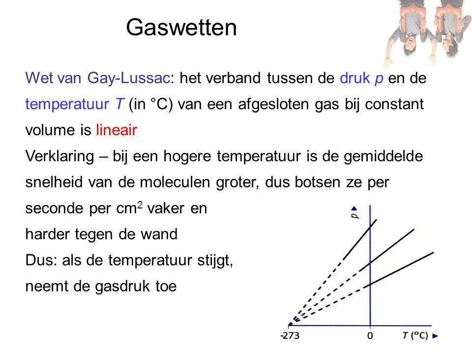 Gaswetten Wet van Gay-Lussac: het verband tussen de druk p en de temperatuur T (in °C) van een afgesloten gas bij constant volume is lineair Verklaring – bij een hogere temperatuur is de gemiddelde snelheid van de moleculen groter, dus botsen ze per seconde per cm 2 vaker en harder tegen de wand Dus: als de temperatuur stijgt, neemt de gasdruk toe