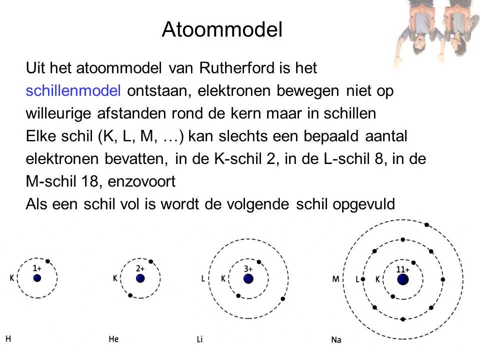 Atoommodel schillenmodel ontstaan, elektronen bewegen niet op Elke schil (K, L, M, …) kan slechts een bepaald aantal Uit het atoommodel van Rutherford is het willeurige afstanden rond de kern maar in schillen elektronen bevatten, in de K-schil 2, in de L-schil 8, in de M-schil 18, enzovoort Als een schil vol is wordt de volgende schil opgevuld