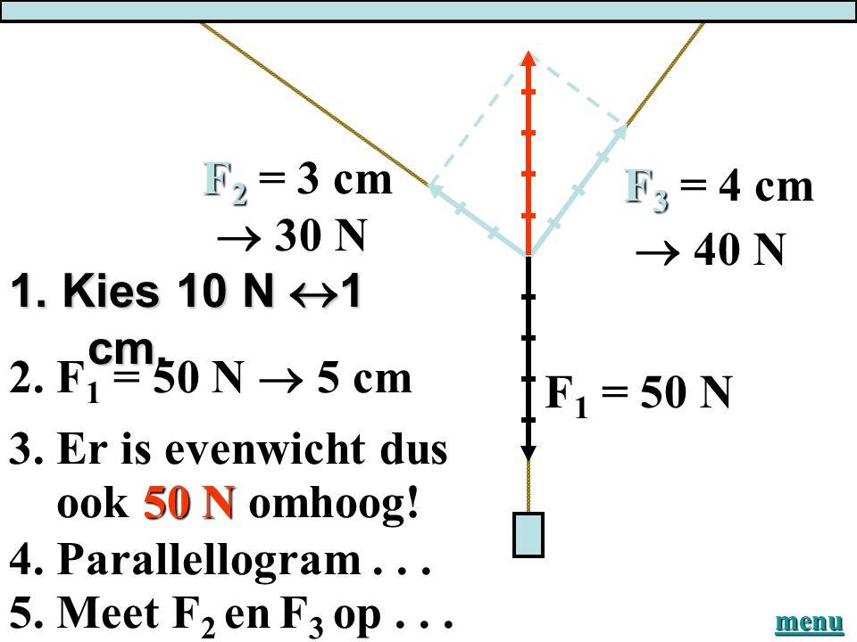 Fz = 500 N. Kies schaal 500N  1 cm FzFzFzFz F1F1F1F1 Meet op: F1 = 3,5 cm = 1750 N = 1,8 kN Meet op: F2 = 4,0 cm = 2000 N = 2,0 kN F2F2F2F2 Er is dus