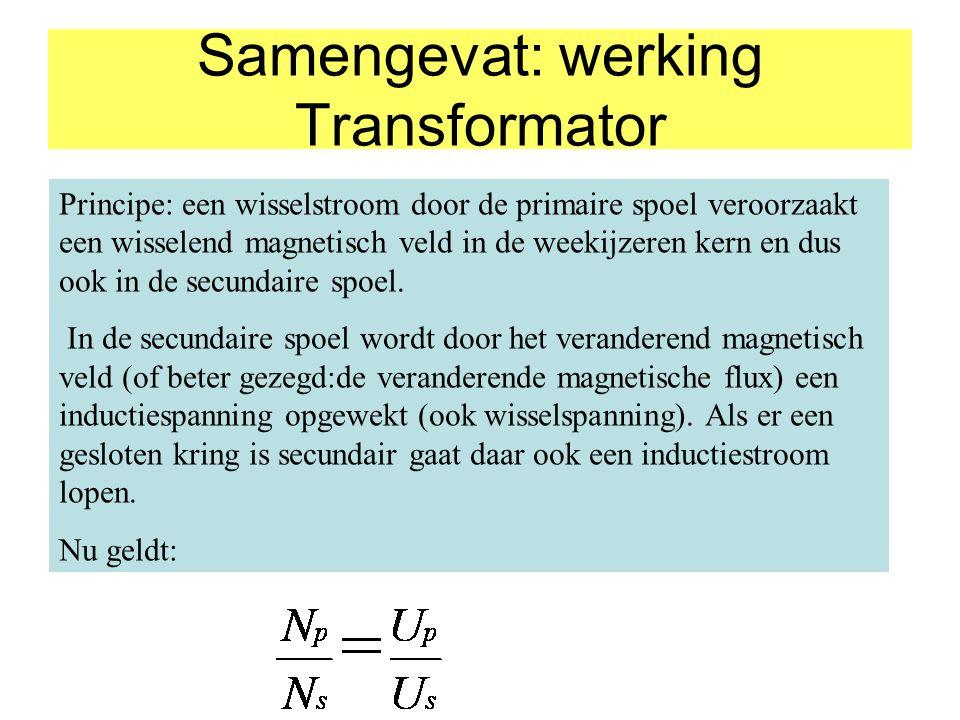 Wat je wint aan spanning verlies je aan stroomsterkte: Want voor een ideale transformator geldt: E primair = E secundair P primair = P secundair U p.I p =U s.I s