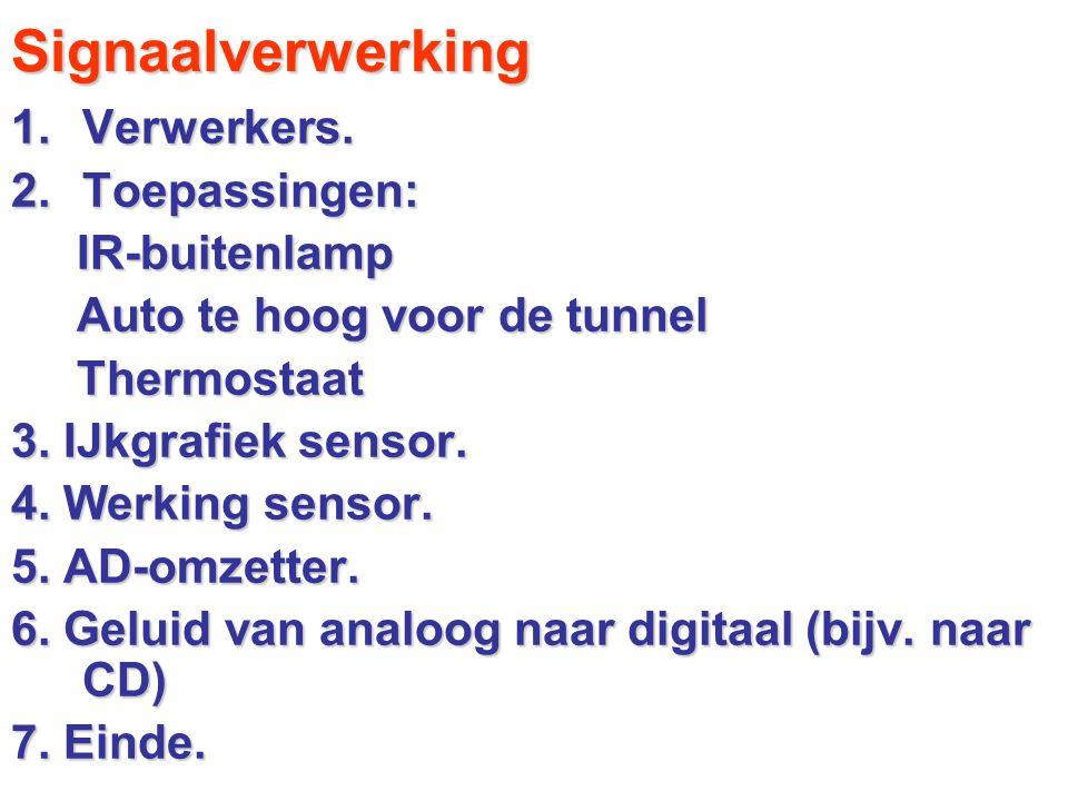 Signaalverwerking 1.Verwerkers. 2.Toepassingen: IR-buitenlamp IR-buitenlamp Auto te hoog voor de tunnel Auto te hoog voor de tunnel Thermostaat Thermo