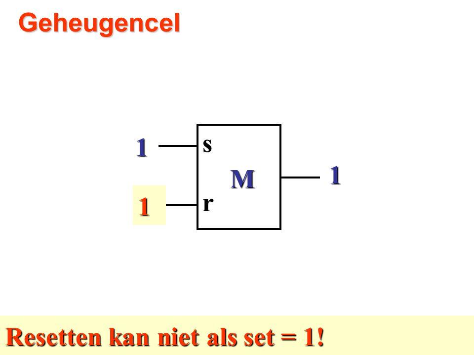 1 0 M rs1Geheugencel1 Resetten kan niet als set = 1!