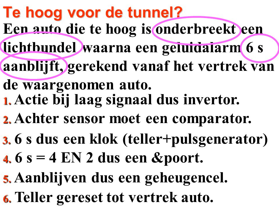 Een auto die te hoog is onderbreekt een lichtbundel waarna een geluidalarm 6 s aanblijft, gerekend vanaf het vertrek van de waargenomen auto. 2. Achte