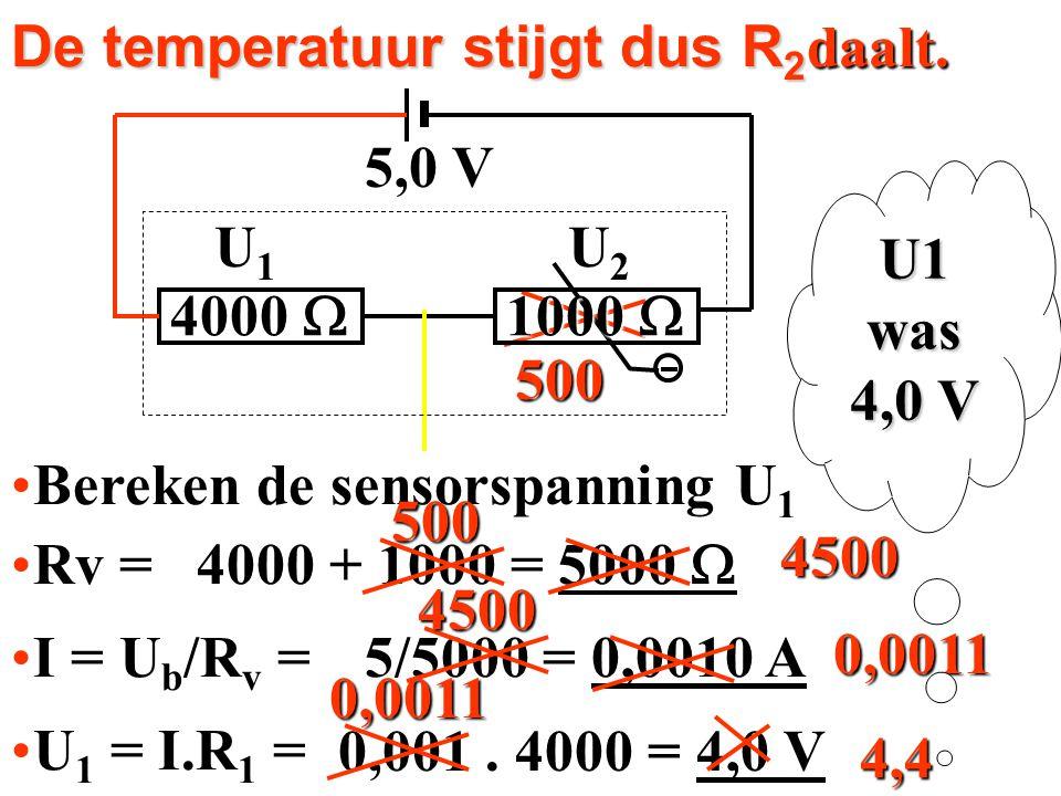 De temperatuur stijgt dus R 2.. Bereken de sensorspanning U 1Bereken de sensorspanning U 1 Rv =Rv = I = U b /R v =I = U b /R v = U 1 = I.R 1 =U 1 = I.