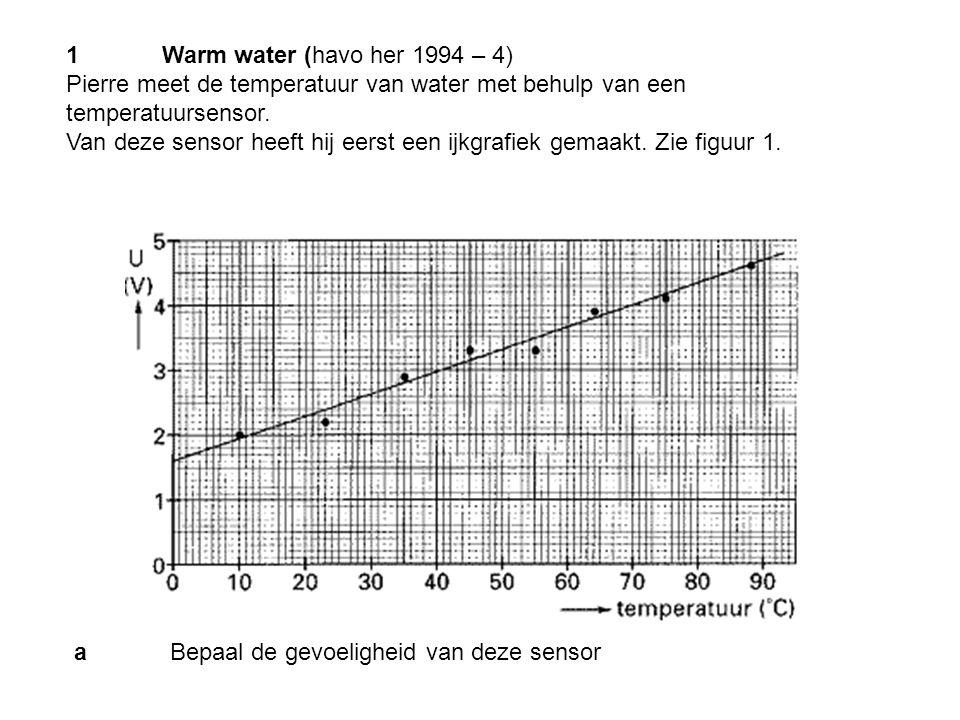1Warm water (havo her 1994 – 4) Pierre meet de temperatuur van water met behulp van een temperatuursensor. Van deze sensor heeft hij eerst een ijkgraf