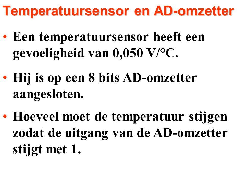 Een temperatuursensor heeft eenEen temperatuursensor heeft een gevoeligheid van 0,050 V/°C. gevoeligheid van 0,050 V/°C. Hij is op een 8 bits AD-omzet