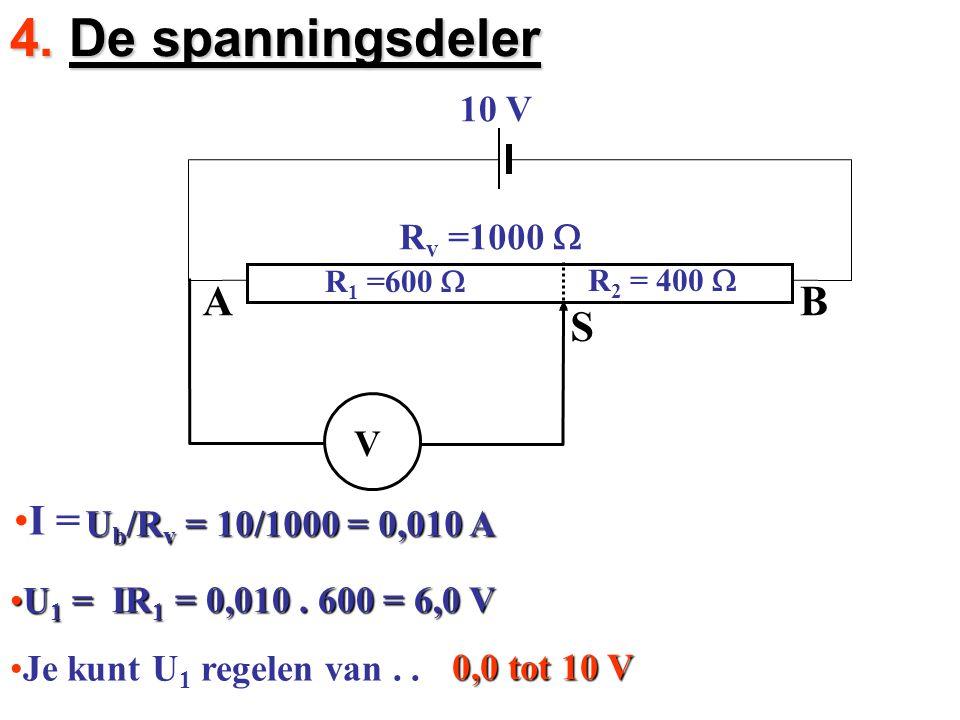 4. De spanningsdeler 10 V I = R v =1000  R 1 =600  R 2 = 400  V Ub/Rv = 10/1000 = 0,010 A U1 = IR1 = 0,010. 600 = 6,0 V Je kunt U 1 regelen van.. 0