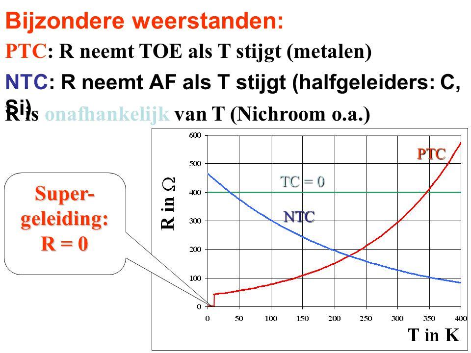 Bijzondere weerstanden: NTC: R neemt AF als T stijgt (halfgeleiders: C, Si) R is onafhankelijk van T (Nichroom o.a.) PTC: R neemt TOE als T stijgt (me