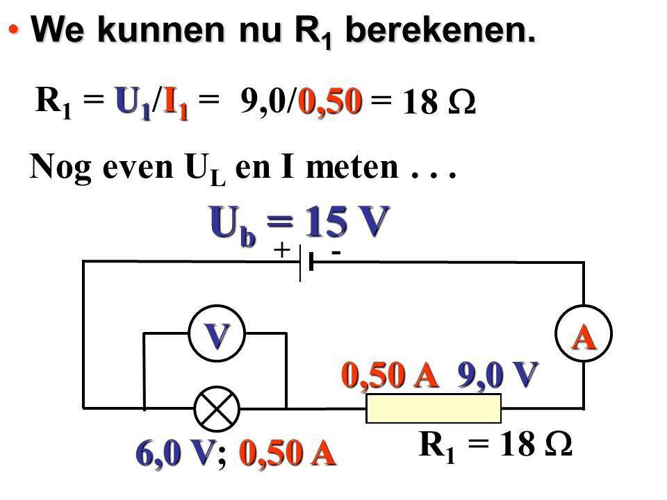 We kunnen nu R 1 berekenen. We kunnen nu R 1 berekenen. R 1 = U 1 /I 1 = R 1 = U 1 /I 1 = 9,0 V 0,50 A 18  9,0/0,50 = V = 18  Nog even UL en I meten