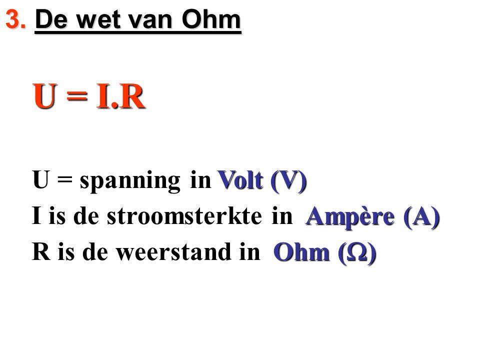 U = I.R U = I.R U = spanning in U = spanning in I is de stroomsterkte in I is de stroomsterkte in R is de weerstand in R is de weerstand in Volt (V) A