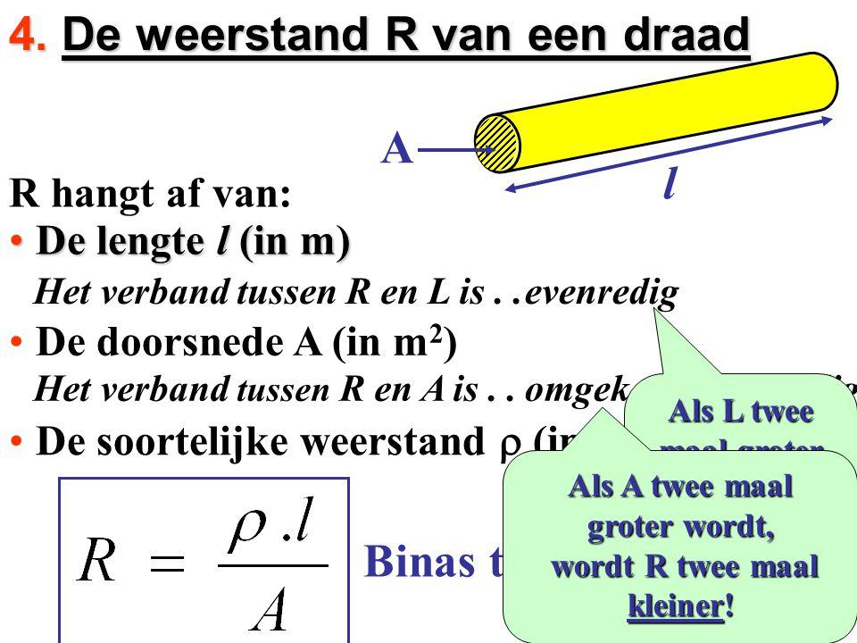 R hangt af van: De lengte l (in m)De lengte l (in m) De doorsnede A (in m 2 )De doorsnede A (in m 2 ) De soortelijke weerstand  (in  m)De soortelijk