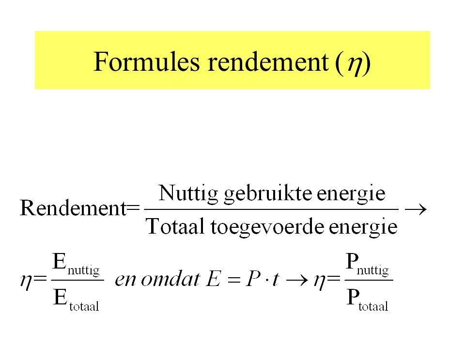 Achtereenvolgens komen aan de orde: Formules voor rendement verschillende soorten toegevoerde energie verschillende soorten nuttige energie verschille