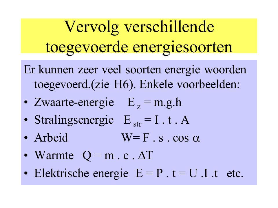 Verschillende soorten toegevoerde energie: Chemische energie: aardgas, aardolie, benzine, steenkool etc. E chem = r v. V waarin r v = verbrandingswarm