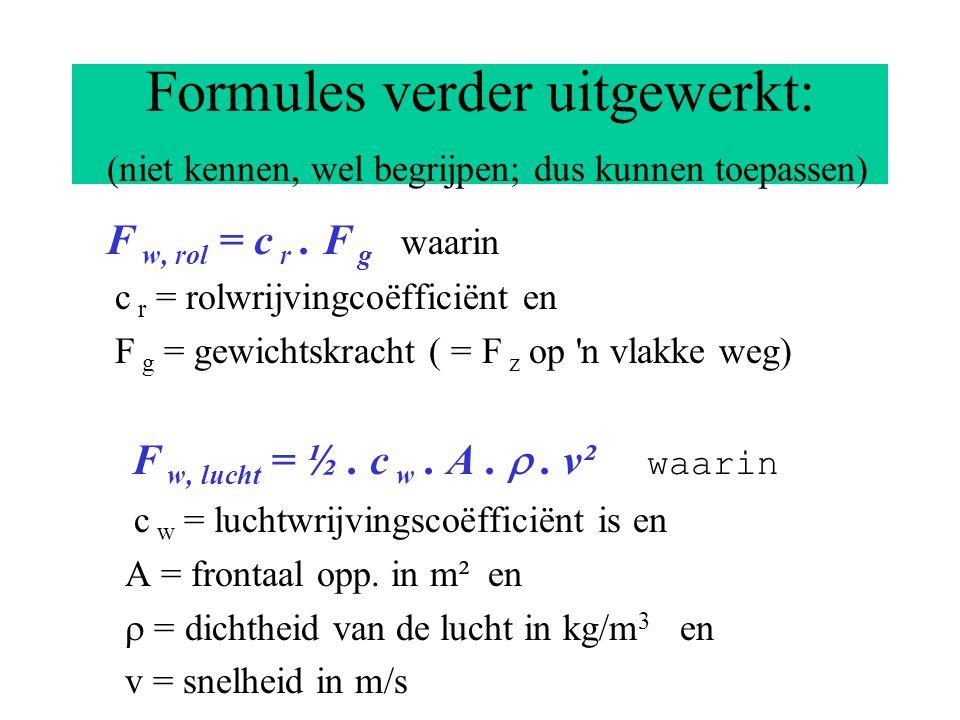 De bijbehorende formules Rijden met constante snelheid: F v = F a = F w, totaal F w, totaal = F w, rol + F w, lucht