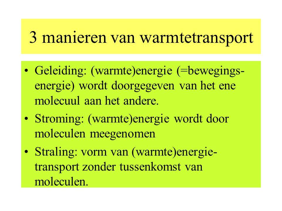 3 manieren van warmtetransport Geleiding: (warmte)energie (=bewegings- energie) wordt doorgegeven van het ene molecuul aan het andere.