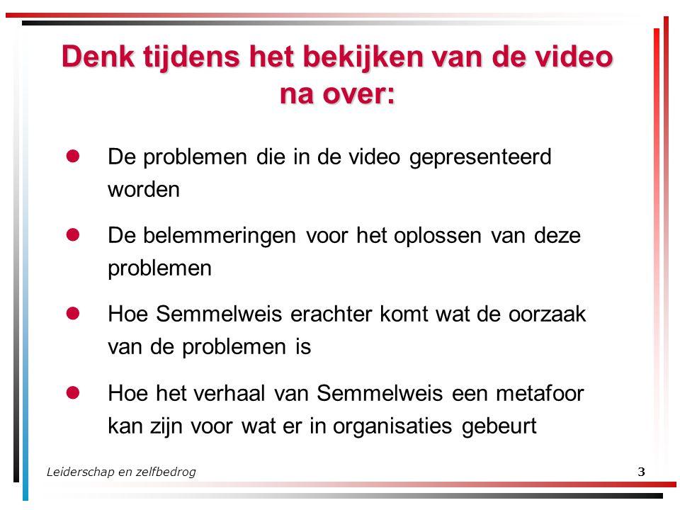 Leiderschap en zelfbedrog3 Denk tijdens het bekijken van de video na over: De problemen die in de video gepresenteerd worden De belemmeringen voor het