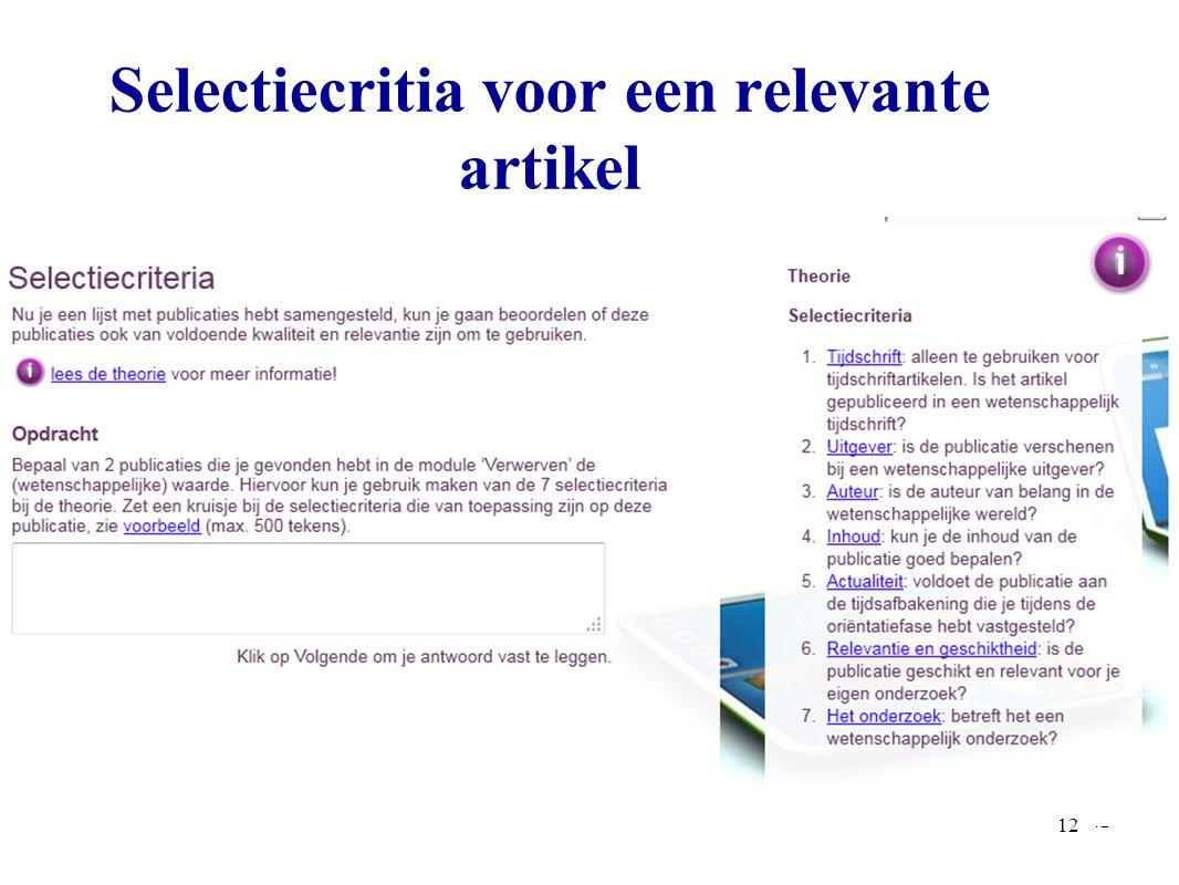 Selectiecritia voor een relevante artikel 12