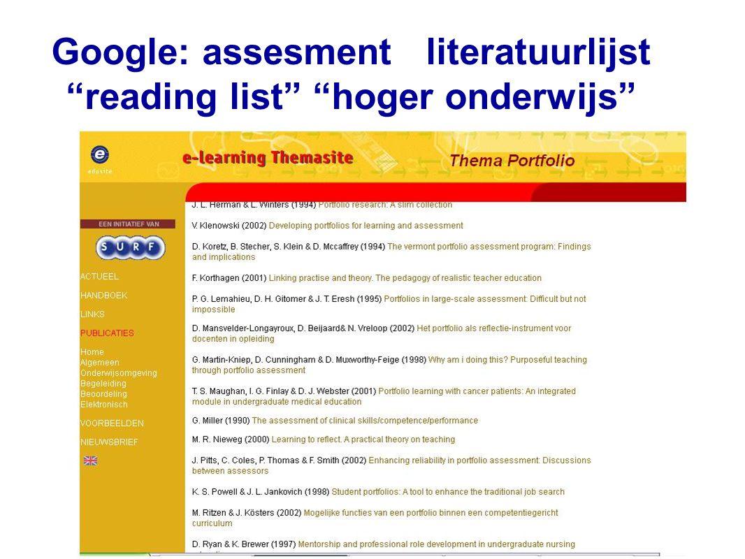 """Google: assesment literatuurlijst """"reading list"""" """"hoger onderwijs"""""""