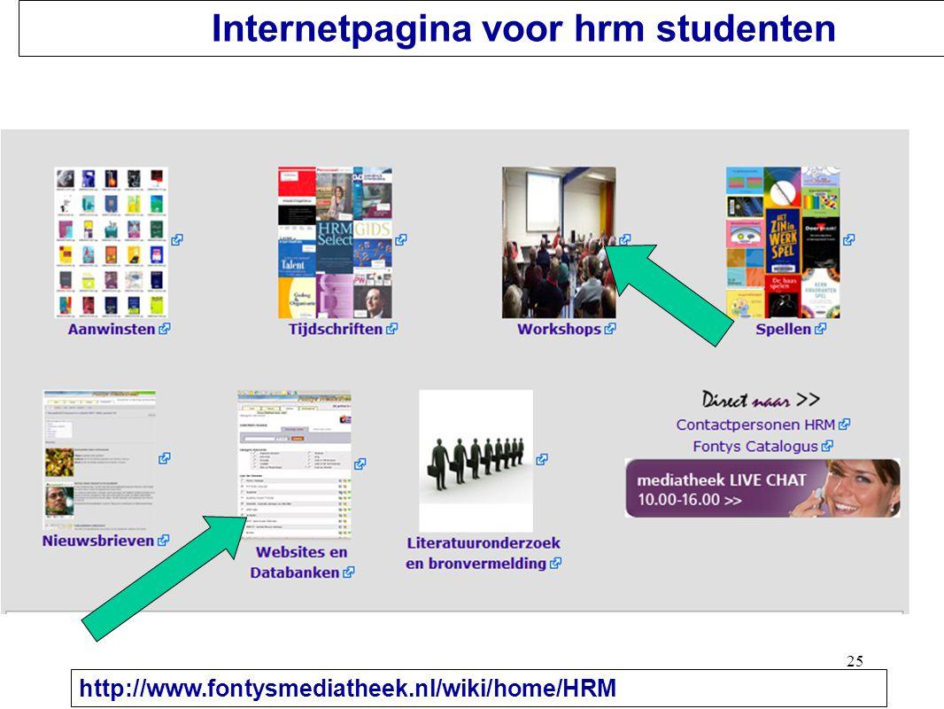 25 Internetpagina voor hrm studenten http://www.fontysmediatheek.nl/wiki/home/HRM