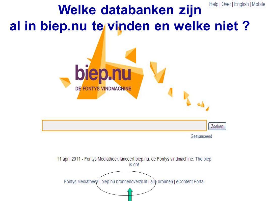 33 Welke databanken zijn al in biep.nu te vinden en welke niet ?