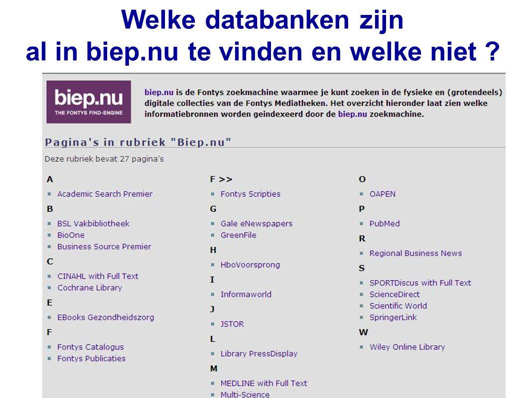 34 Welke databanken zijn al in biep.nu te vinden en welke niet ?