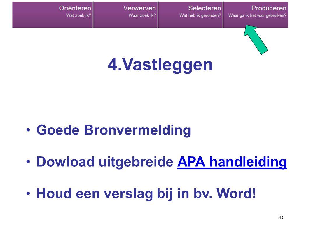 46 Goede Bronvermelding Dowload uitgebreide APA handleidingAPA handleiding Houd een verslag bij in bv. Word! 4.Vastleggen