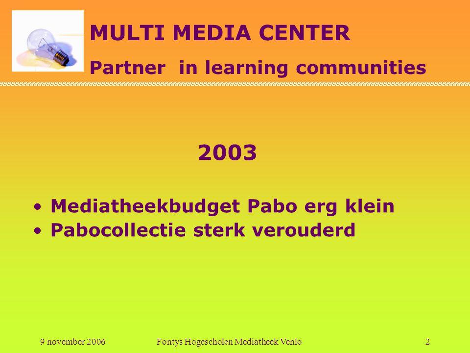 MULTI MEDIA CENTER Partner in learning communities 9 november 2006Fontys Hogescholen Mediatheek Venlo3 2004 Domeindeskundigen worden benoemd Tijd voor relatiebemiddeling