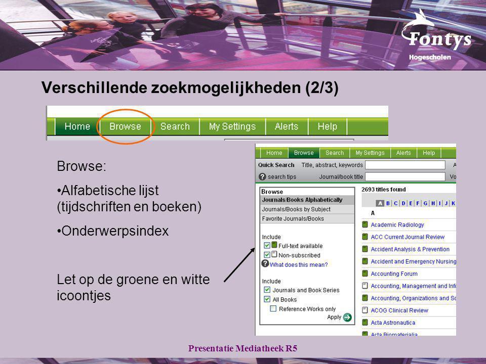 Presentatie Mediatheek R5 Verschillende zoekmogelijkheden (2/3) Browse: Alfabetische lijst (tijdschriften en boeken) Onderwerpsindex Let op de groene